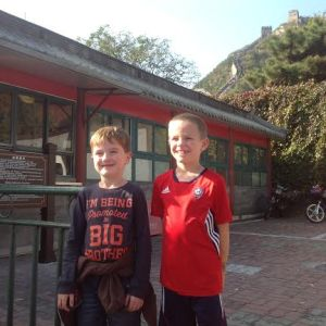 James and his best friend at the Great Wall entrance.