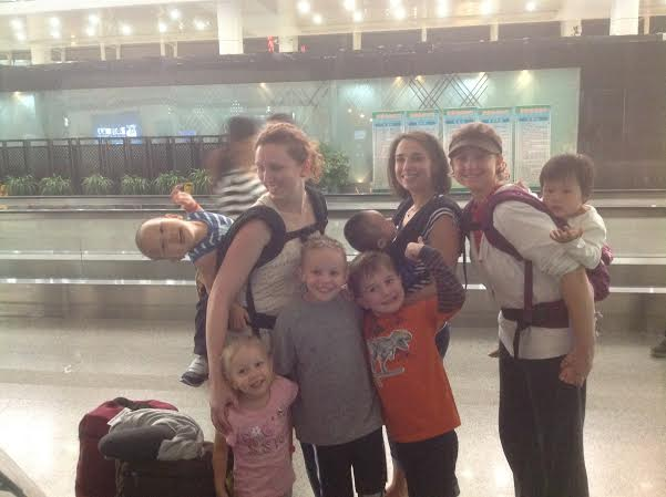 Three new mamas waiting in Wuhan for the next part of our journey.